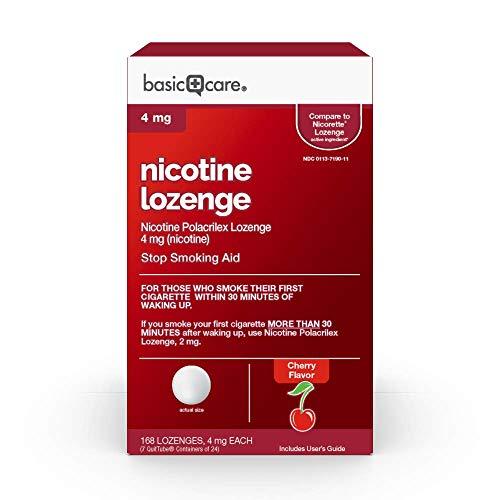 Amazon Basic Care Nicotine Polacrilex Lozenge 4 mg, Sand, cherry, 168 Count