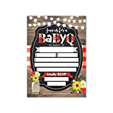 25 Babyq Baby Shower Invitations, Sprinkle Invite For Boy or Girl, Coed Rustic Barbeque Gender Neutral Reveal Theme, Cute Fill or Write In Blank Printable Card, Country Sunflower Party DIY Supplies