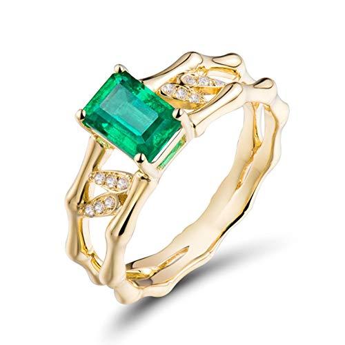 AnazoZ Anillo Mujer Esmeralda,Anillos Oro Amarillo Compromiso 18K Oro Verde Rectángulo Esmeralda Verde 1.05ct Diamante 0.05ct Talla 8