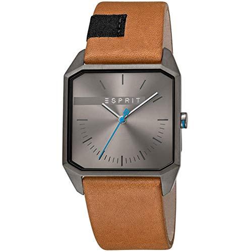 Esprit Herren Analog Quarz Uhr mit Leder Armband ES1G071L0025