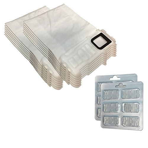 Juego 12Bolsas/Bolsas (Microfibra) + 12Ambientadores para aspiradora Vorwerk Folletto Kobold VK 135, 136, VK135, VK136
