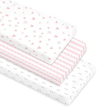 Cambria Baby 100% Organic Cotton Changing Pad Covers or Cradle Sheets with Reinforced Safety Strap Holes Soft Pre-Shrunk and Machine Washable in a Pink/White Patterns for Girls 3 Pack