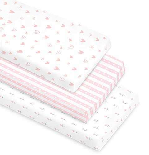 Cambria Baby 100% Organic Cotton Changing Pad Covers or Cradle Sheets with Reinforced Safety Strap Holes Soft PreShrunk and Machine Washable in a Pink/White Patterns for Girls 3 Pack