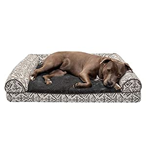 Furhaven Pet Dog Bed – Orthopedic Plush Kilim Southwest Home Decor Traditional Sofa-Style Living Room Couch Pet Bed with Removable Cover for Dogs and Cats, Boulder Gray, Large