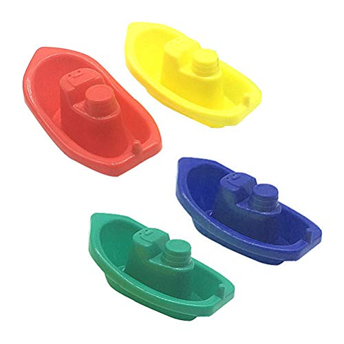 Rapoyo Wasserspaß Boote, 4 Stück, Badeboote aus Kunststoff, Wasserspielzeugset für Kleinkinder Spielzeugboote, Badespielzeug für Badewanne Pool Spielzeug