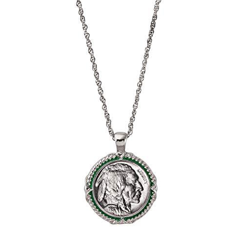 Buffalo Nickel Coin Pendant Necklace with Green Enamel | Silvertone 24