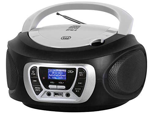 Trevi CMP 510 DAB Stereo Portatile CD Boombox Radio DAB/DAB+ con RDS, USB, AUX-IN, Presa Cuffia, Nero