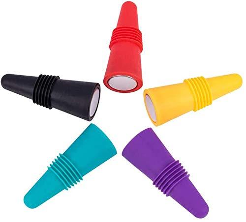Silikon-Weinverschluss, 5 wiederverwendbare farbige Silikon-Stopper, Schraubverschlüsse und Vakuum-Stopper für Champagner-Bier., M