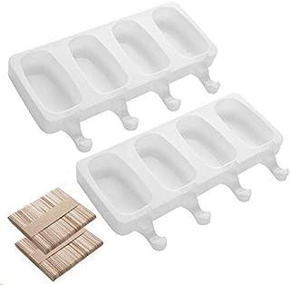 AIXMEET Moule à Glace en Silicone, 26x14.5cm, 2PCS Ice Cream Moules Maison Dessert, Popsicle Ice Maker, Moule sans BPA, DI...