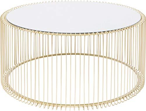 Kare Design Couchtisch Wire Uno Brass Ø80cm, runder, moderner Couchtisch für das Wohnzimmer, mit Gestell in der Farbe Messing und Glasplatte in verspiegelter Optik, (H/B/T) 40,5x80x80cm