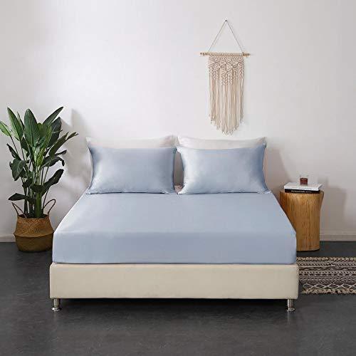 Mommesilk - Lenzuolo con angoli in seta da 22 momme, 1 lenzuolo con angoli, 100% pura seta di gelso naturale, con tasca profonda, colore: Argento/Blu