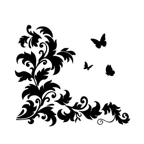 EmmiJules Wandtattoo Blumenranke mit Schmetterlinge Ranke Flur Wohnzimmer Ornament Schlafzimmer Blumenranken Wandaufkleber Wandsticker (28cm x 28cm, schwarz)