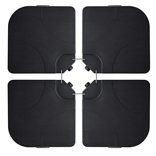 Ribelli 4X Beschwerungsplatten Sonnen & Ampelschirm selbst befüllbar Schwarz wetterfest