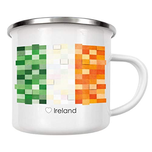 artboxONE Emaille Tasse Irland Flagge von GREENGREENDREAMS - Emaille Becher Reise