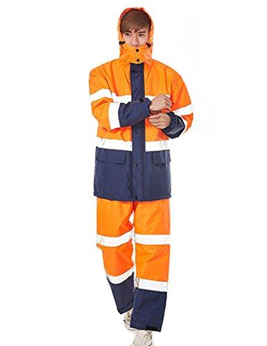 Icegrey Uomo Hi Vis Completo Antipioggia Giacca e Pantalone Anti Pioggia Impermeabile Tuta Vis da Lavoro Riflettente Arancione Style 4XL