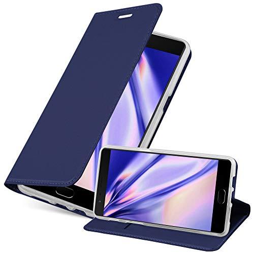 Preisvergleich Produktbild Cadorabo Hülle für OnePlus 3 / 3T - Hülle in DUNKEL BLAU Handyhülle mit Standfunktion und Kartenfach im Metallic Look - Case Cover Schutzhülle Etui Tasche Book Klapp Style