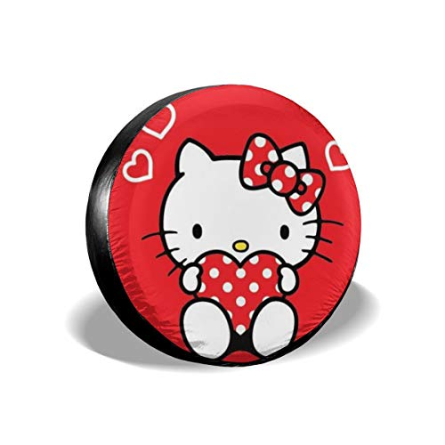 Heavenly Battle Red Cute Hello Kitty Spare Tire Covers Universal Tire Cover Dust-Proof Waterproof Wheel Covers for Jeep, Trailer, RV, SUV, Truck and Many Vehicle Wheel Diameter-17 inch