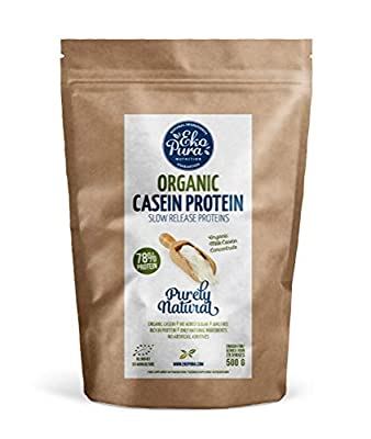 Organic Casein Protein - Natural - 78% Protein - Certified Organic, from Grass Fed Cows, Free of Nasties - 500g by Ekopura Nutrition