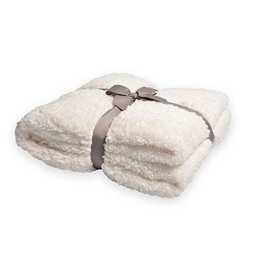 Battilo Plush Oversize Sherpa Throw Blanket for Couch Sofa   Fluffy Microfiber Fleece Throw   Soft, Fuzzy, Cozy (White)