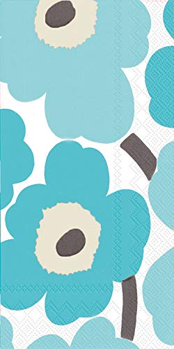 Boston International IHR Marimekko 16-Count Guest/Dinner 3-Ply Paper Napkins, 8.5 x 4.5-Inches, Unikko Turquoise -  BF552642