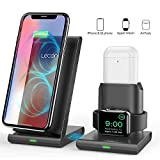 Lecone Supporto Caricatore Wireless 3 in 1 Stand per Apple Watch, Wireless Caricatore Supporto di Ricarica Wireless Docking Station per Airpods iPhone X/8 Plus/XS Max/XR Iwatch 4/3/2/1