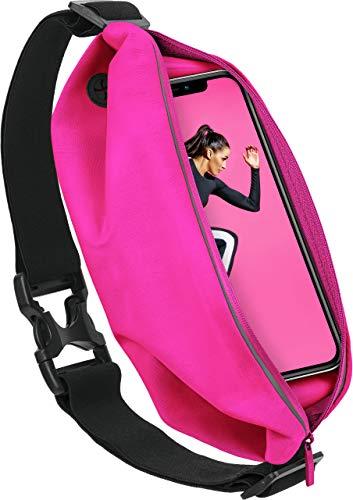 MoEx® Sport Gürteltasche Leicht & Wasserfest - für alle Vernee Handys | In- & Outdoor Fitness Handytasche, Lauftasche, Hüfttasche, Jogging Handy-Hülle, Laufgurt, Bauchtasche Joggen, Neon Pink