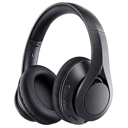 Over Ear 60H Playtime - Auriculares inalámbricos inalámbricos con micrófono HD, auriculares plegables con cable y auriculares plegables Deep Bass para teléfono/TV/niños y adultos