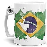 Tassendruck Flaggen-Tasse Brasilien Fussball-Tasse - Fahne/Länderfarbe/Wasserfarbe/Aquarell/Cup/Tor/Qualität Made in Germany
