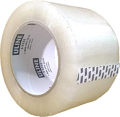 Packing Tape, 3 Inch X 110 Yard 2.6 Mil Crystal Clear Industrial Plus Tape by Uline, Pack of 4