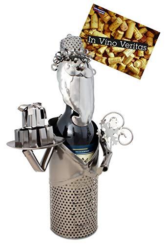 Brubaker Weinflaschenhalter Weihnachtsmann - Weihnachtsdeko Metall - Flaschenständer - mit Grußkarte für Weingeschenk