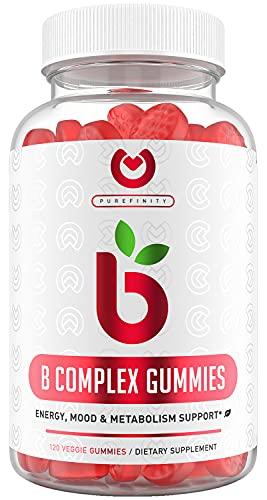 Vitamin B Gummies - Energy, Metabolism, Hair Skin & Nail Vitamin Supplement   Vitamin B Complex with Vitamin B12, Vitamin B6, Vitamin C, Niacin, Folate, and Biotin - 120 Pectin Gummies