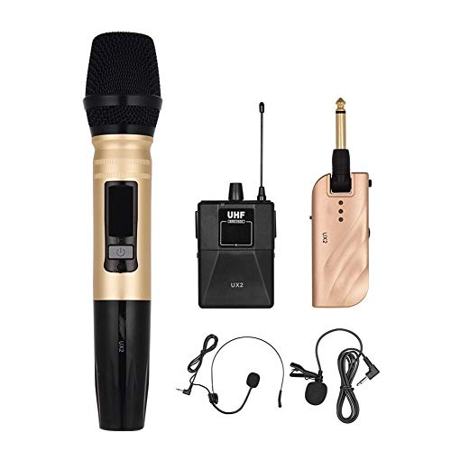 Sistema de micrófonos inalámbricos UHF Profesional de Dos Canales con 1 transmisor de Cuerpo Receptor + 1 incorporada Grabación de Eco Karaoke
