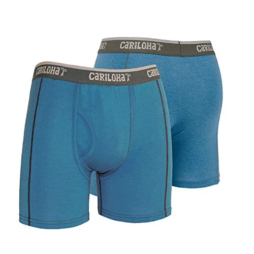 Cariloha - Men's Bamboo Underwear Boxer Briefs with Fly - Medium, Steel Blue