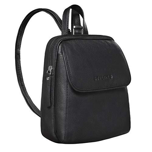 STILORD 'Valentina' Vintage Damenrucksack Klein Leder Daypack Rucksack für Frauen Rucksackhandtasche für City Ausgehen Shopping Damen Tagesrucksack Echtleder, Farbe:schwarz