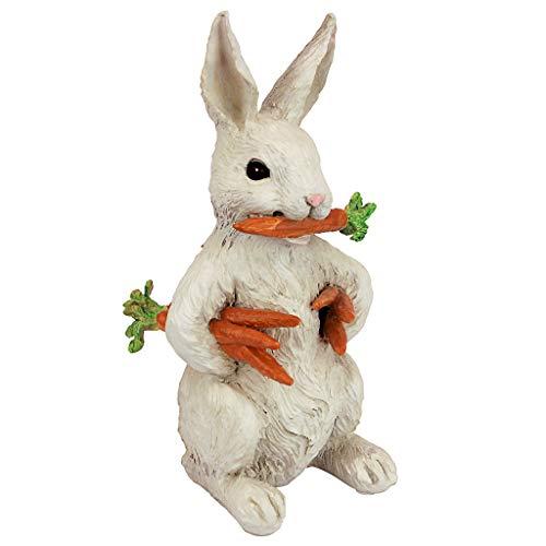 Design Toscano Carotene das Kaninchen mit Karotten Osterdeko Gartenstatue, Polyresin, vollfarbe, 30 cm
