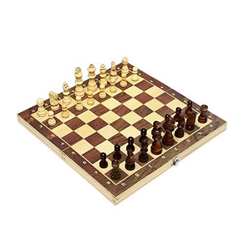 U/D Juego de ajedrez de Madera magnético Juego de ajedrez Internacional Piezas de ajedrez de Madera Plegable Tabla de ajedrez 39cm x 39cm Juego de Mesa de Viaje (Color : Marrón, Size : 34cm)