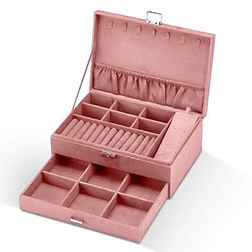 Caja Joyero para Mujer, Estuche Joyero Aterciopelado, Caja Organizadora de 2 Pisos, Caja de Joyas con Cerradura Joyero portátil de Jewelry Organizer para Pendientes, Collares, Relojes (Rosado)