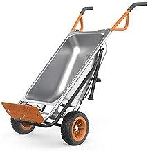 WORX WG050 Aerocart 8-in-1 2-Wheel Wheelbarrow/Garden Cart/Dolly, Orange, Black, and Silver, 18