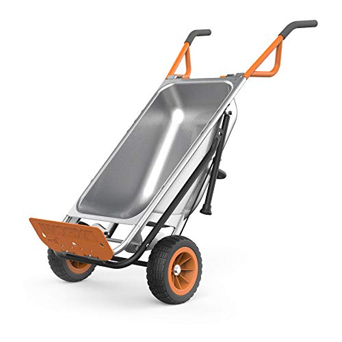 WORX WG050 Aerocart 8-in-1 2-Wheel Wheelbarrow/Garden Cart/Dolly, Orange, Black, and Silver, 18' x 12' x 42'