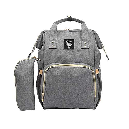 2pcs / ensemble grande capacité bébé soins multifonctionnel maman sac à dos design à la mode maman sac à couches sac à couches - gris
