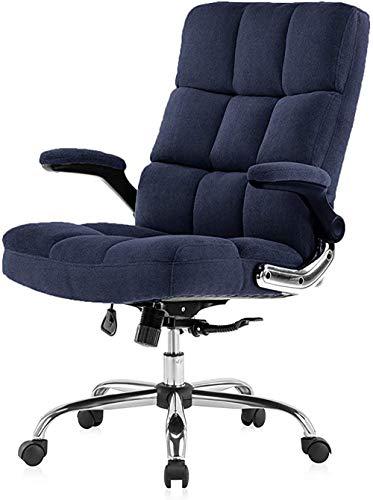 YIQIFEI Ledersessel kleinen Bürostuhl Executive Desk Chair mit hochklappbaren Armen für zu Hause, Computerstühle mit Dicker Polsterung für Komfort und ergonomisches Design für Lordosenstütze (