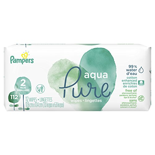 Pampers Aqua Pure, Sensitive Water Baby Diaper Wipes, 112 Total Wipes