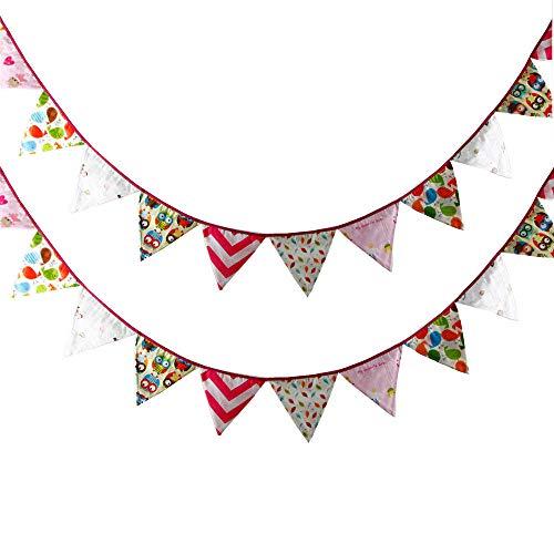 Dibujos animados Fiestas Infantiles Decoracion Banderines 3.2M Banderines para una decoración perfecta para Baby Shower, fiestas de cumpleaños, guardería para niña-2 piezas_Rosa roja
