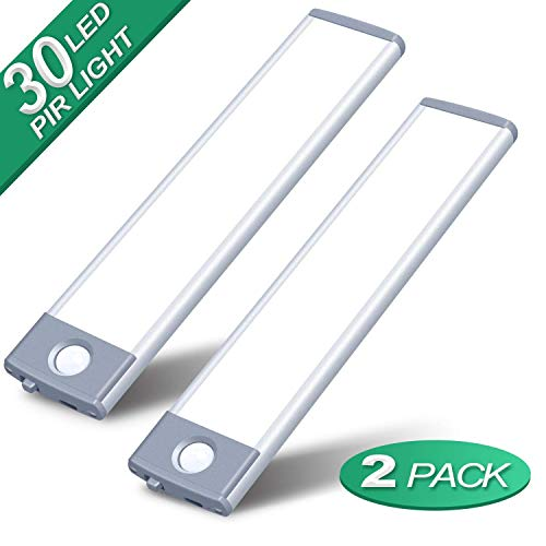 Under Cabinet Lighting Motion Sensor Closet Light 30 LEDs Wireless with 1000mAh Rechargeable Battery 180lm Ultra Thin Magnetic Led Cabinet Lights for Kitchen, Drawer, Stairs, Hallway, (White, 2Pack)