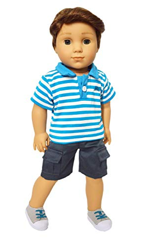 Brittany's American Creations Blue Polo Set Compatible with 18 Inch Girl and Boy Dolls