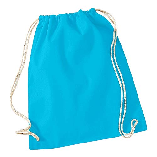 Westford Mill - Mochila saco o de cuerdas de algodón Modelo Gymsac Deporte/Gimnasio (12 litros) (Talla Única) (Azul surf)