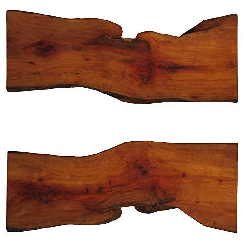 Tisch-Dekoauflage aus Birnbaumholz (Maße in cm, ca.: L x B x H = 57,5 x 16,5 bis 22,5 x 2,3) (Artikel-Nr: H-1-50)