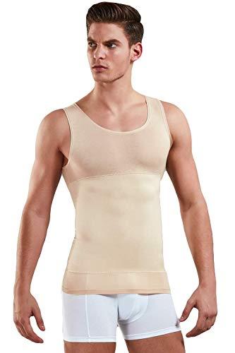 Doreanse Herren Shapewear Unterhemd   Figurformende Bauch Weg Shirt für Männer aus 85% Baumwolle  Body Shape Tank Top Unterhemden in weiß, schwarz o. Skin (Skin, XXL)