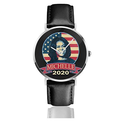 Unisex Business Casual Michelle Obama 2020 Uhren Quarzuhr Leder schwarz Lederband für Männer Frauen Young Collection Geschenk