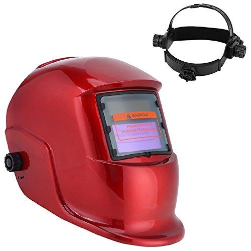 Casco de soldadura de oscurecimiento automático, función de molienda de soldadura con energía solar ajustable DIN 9/13 con pantalla LCD y 5 lentes de repuesto gratis